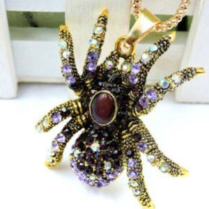 Betsey Johnson Spider Purple Rhinestone Necklace